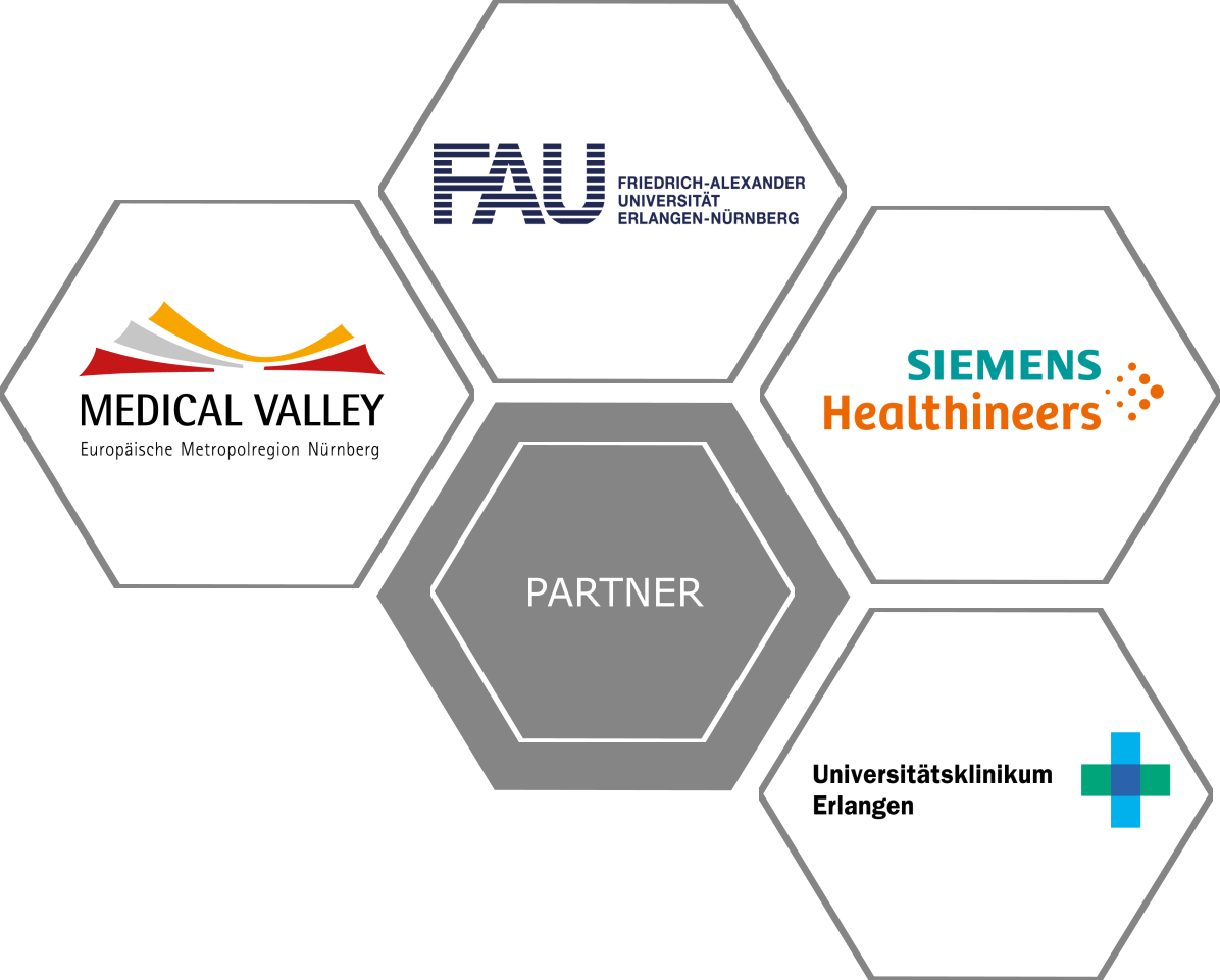 graphical representation of the partners with its respective logos (Medical Valley, FAU, Siemens Healthineers and Universitätsklinikum Erlangen)